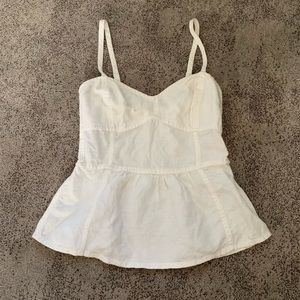 Aerie | Fitted White Peplum Tank Top
